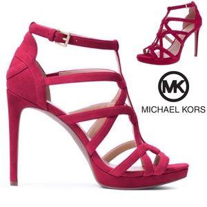 Michael Kors Sandra Silhouette Platforms Red Burgundy Suede Leather Sandals Heel